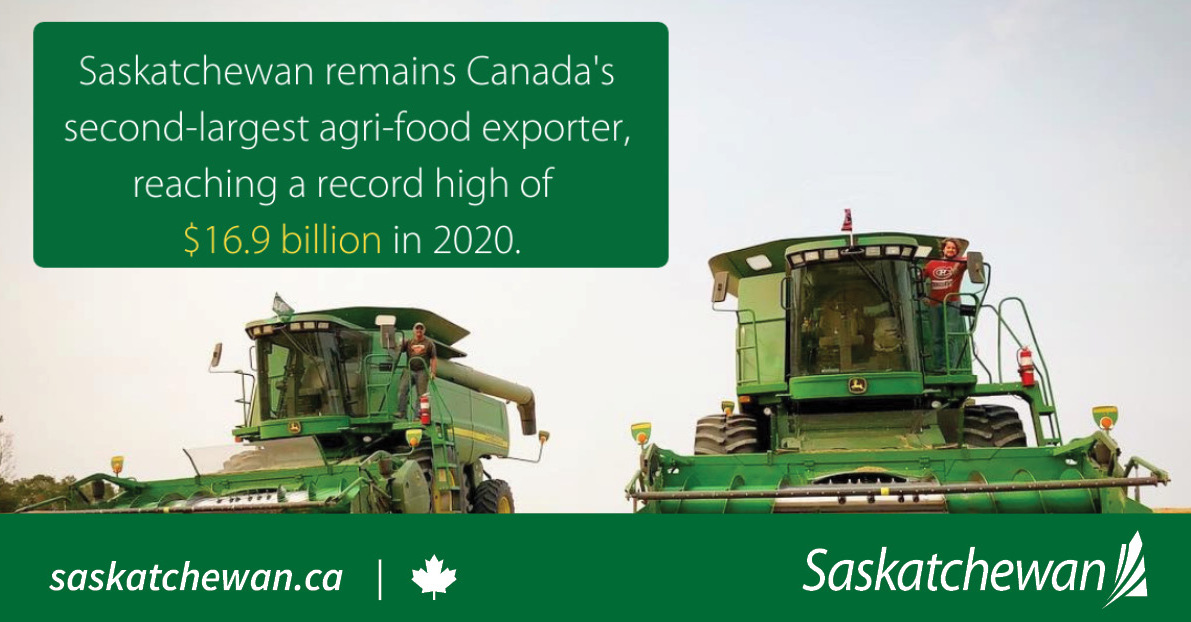 Record Saskatchewan Agricultural Exports in 2020