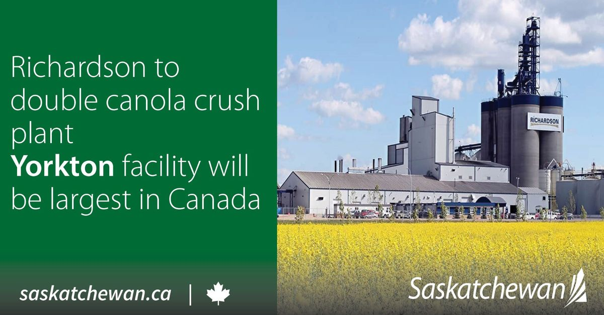 Government Welcomes Canola Crush Expansion At Yorkton