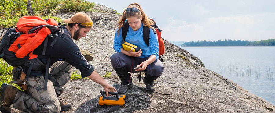 Two Saskatchewan workers on a geological survey